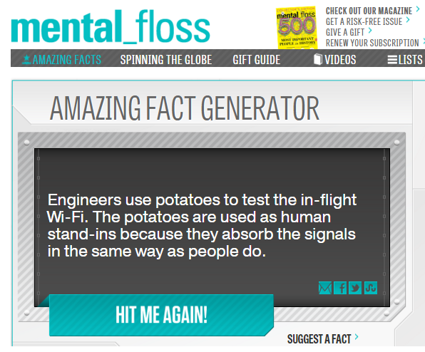 Der Amazing Fact Generator von Mental Floss