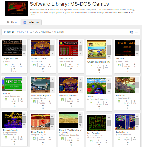 Software Library: MS-DOS Spiele auf archive.org