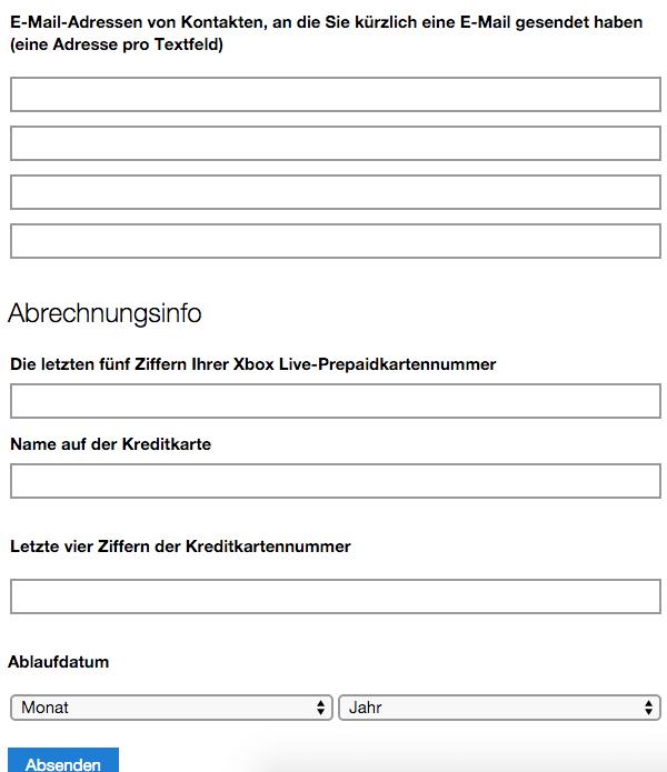 Adressen von Kontakten und Kreditkarteninformationen - account.live.com