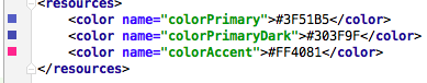 Die Farben in res/values/colors.xml
