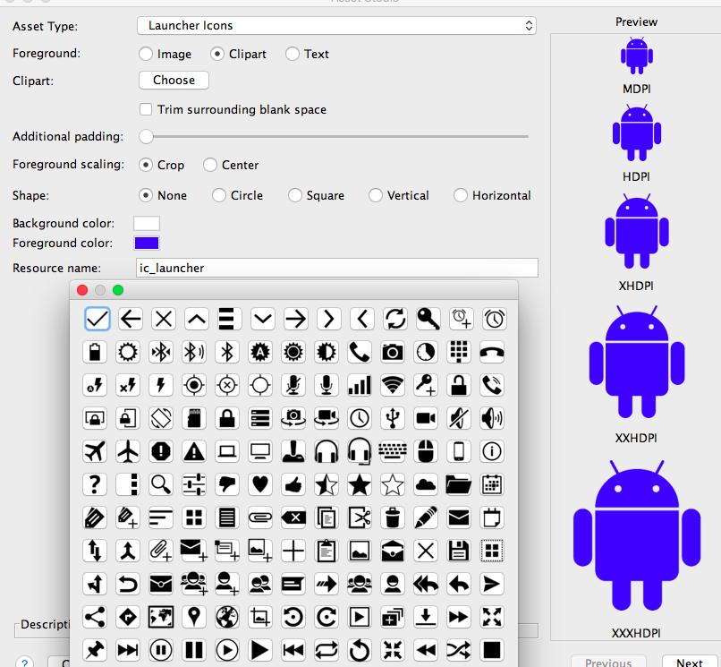 Launcher-Icon aus Cliparts auswählen