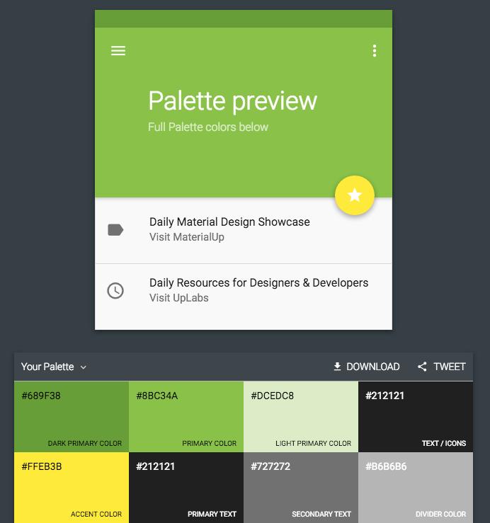Palette, erstellt mit materialpalette.com