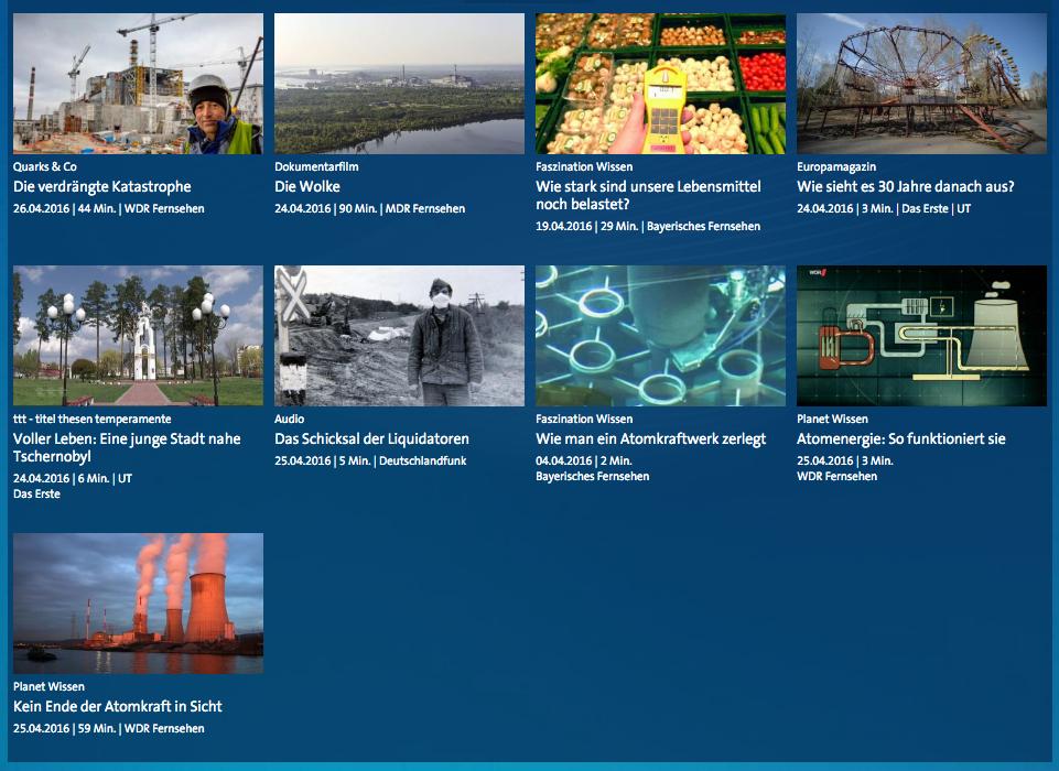ARD-Dossier zum Thema Tschernobyl