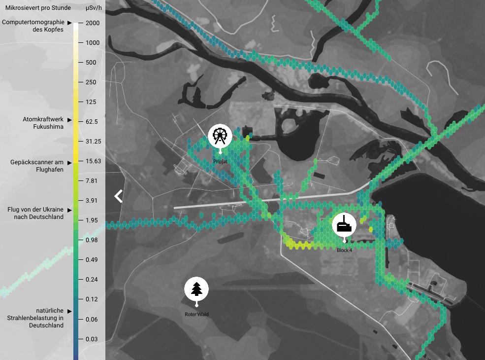 """""""Interaktive Karte: Strahlenbelastung am Kraftwerk Tschernobyl"""""""