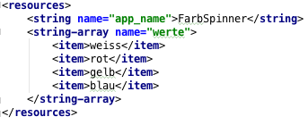 "String-Array ""werte"" in der strings.xml"