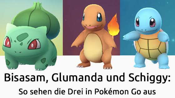 Bisasam, Glumanda und Schiggy: So sehen die Drei in Pokémon Go aus
