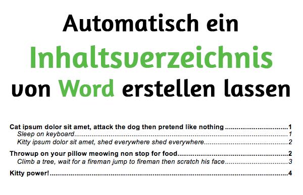 Automatisch ein Inhaltsverzeichnis von Word erstellen lassen