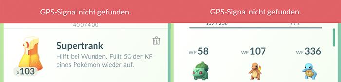 Eher 'geht so': Der GPS-Balken überdeckt immer noch die Zähler für Inventar und Pokémon/Eier.
