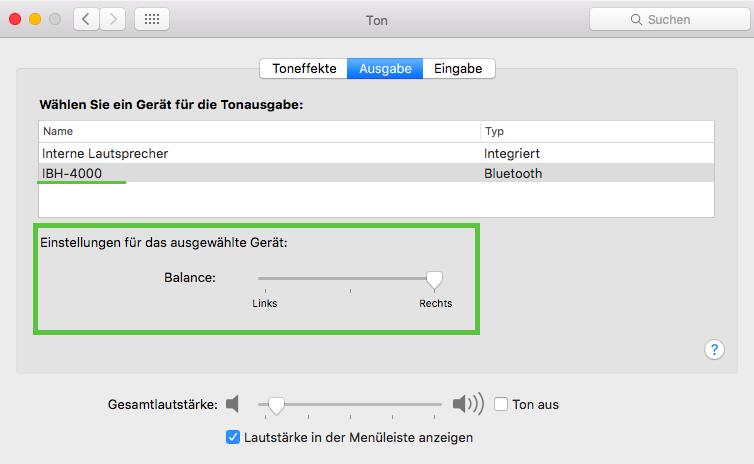 Die Balance einstellen: Systemeinstellung -> Ton -> Ausgabe.