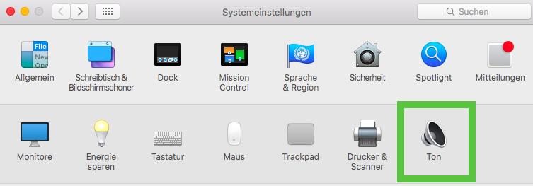 Mac Systemeinstellungen: Ton.