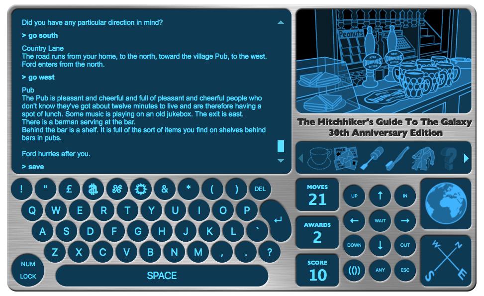 So sieht die Spieloberfläche aus: Viel Text, ein bisschen Grafik.