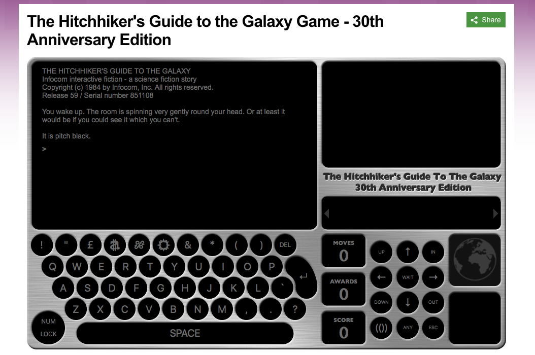 The Hitchhiker's Guide to the Galaxy: Online Textadventure der BBC