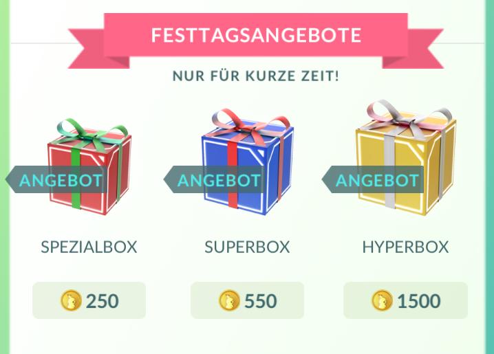 Drei Geschenkboxen bei Pokémon GO