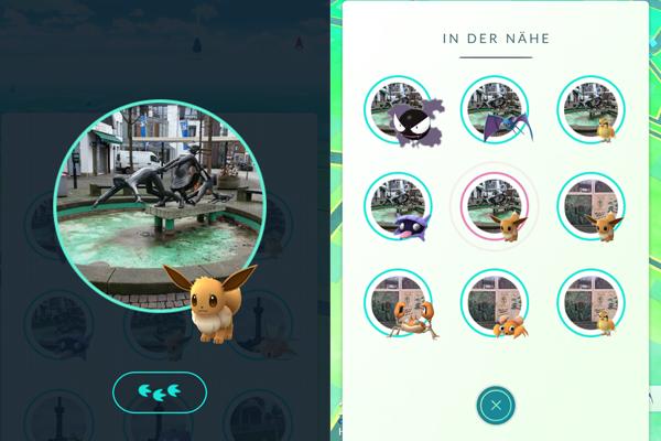 """Nachdem ein Pokémon durch Antippen ausgewählt wurde, wird es im """"In der Nähe""""-Fenster hervorgehoben."""