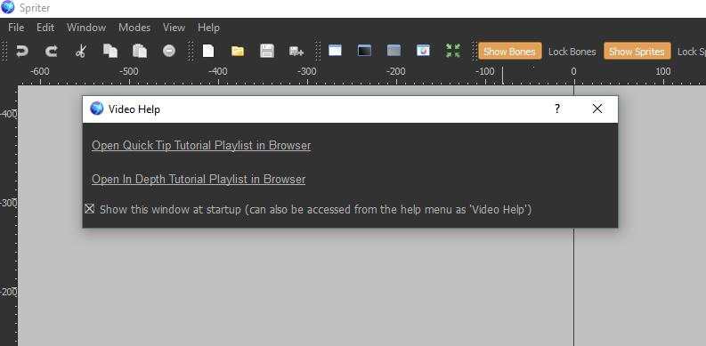 So soll es aussehen: Spriter Pro funktioniert nun endlich und stürzt beim Starten unter Windows 10 nicht mehr ab.