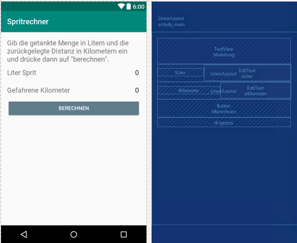 Spritrechner-App: Layout bzw. activity_main.xml