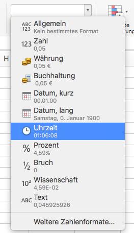 Uhrzeit-Format in Excel (hh:mm:ss)