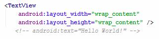 Zeilenkommentar in XML: Eigenschaft eines TextViews auskommentiert