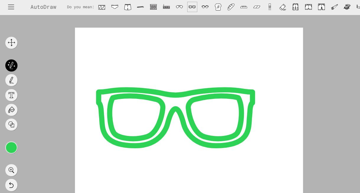 AutoDraw A.I. hat meine Brille erkannt. Meint aber, es könnte auch eine Unterhose sein. ;-)