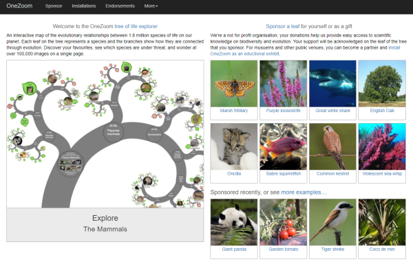 OneZoom.org: Tree of Life Explorer