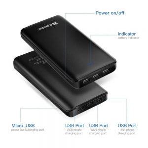 Coolreall Powerbank mit 20000 mAh und 3 USB-Ports