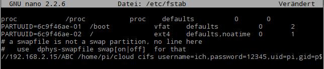 nano: So oder so ähnlich sieht die /etc/fstab aus.
