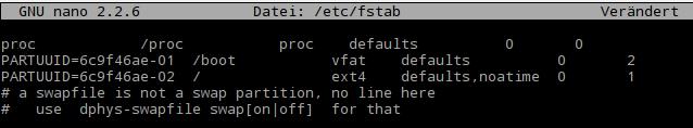 nano: /etc/fstab bearbeiten.