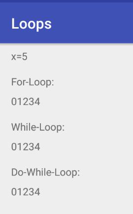 Loops für x=5 mit Bedingung i<x.