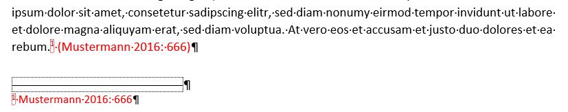 Fußnotentext im Dokumenttext mit Klammern.