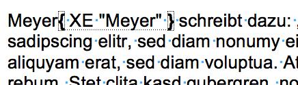So sieht die Indexeintrag-Markierung in Word aus.