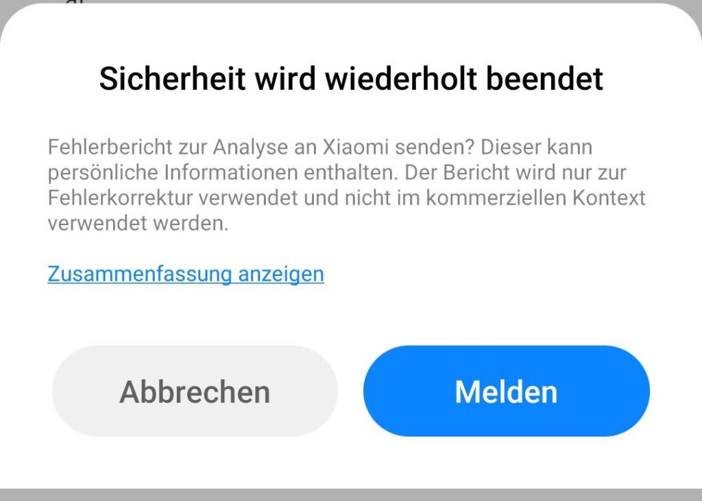 Fehlermeldung von Xiaomi / MIUI: Sicherheit wird wiederholt beendet